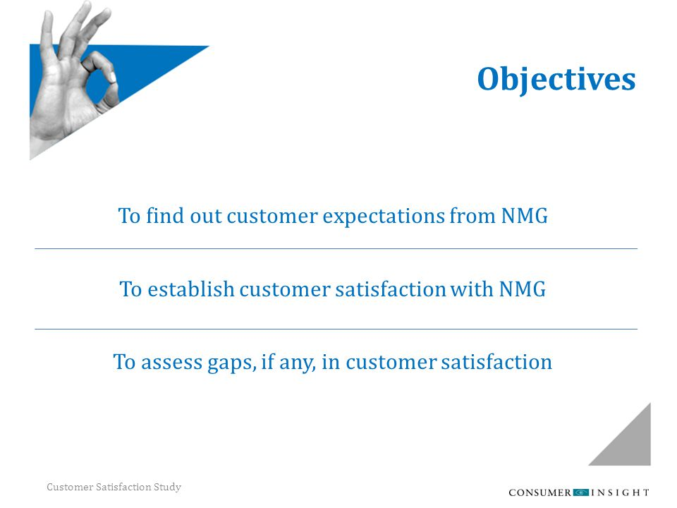 Customer Satisfaction Study Objectives To find out customer expectations from NMG To establish customer satisfaction with NMG To assess gaps, if any,