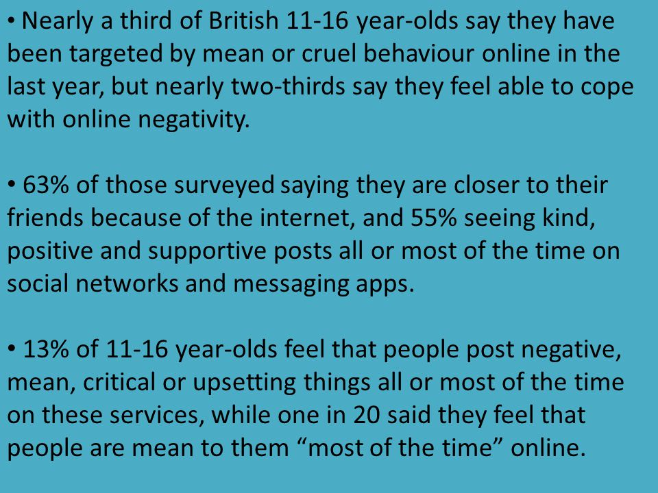 Nearly a third of British 11-16 year-olds say they have been targeted by mean or cruel behaviour online in the last year, but nearly two-thirds say th