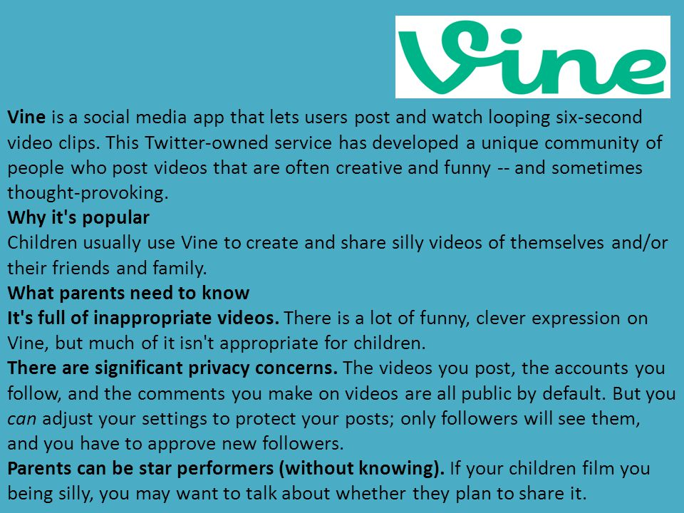 Vine is a social media app that lets users post and watch looping six-second video clips. This Twitter-owned service has developed a unique community