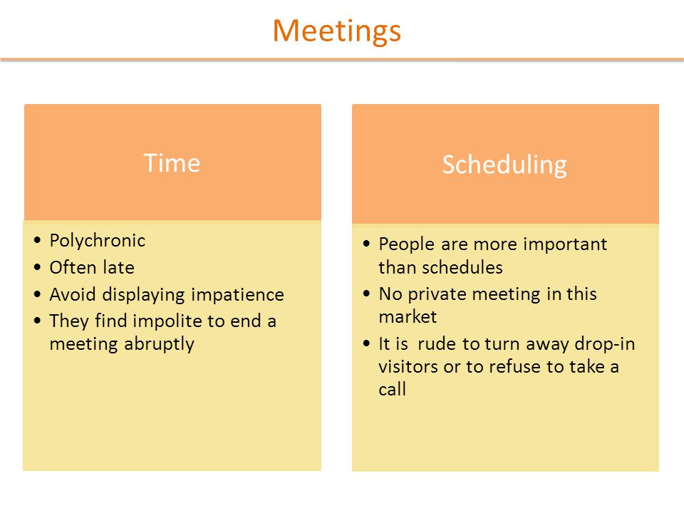 Meetings Time Polychronic Often late Avoid displaying impatience They find impolite to end a meeting abruptly Scheduling People are more important than schedules No private meeting in this market It is rude to turn away drop-in visitors or to refuse to take a call