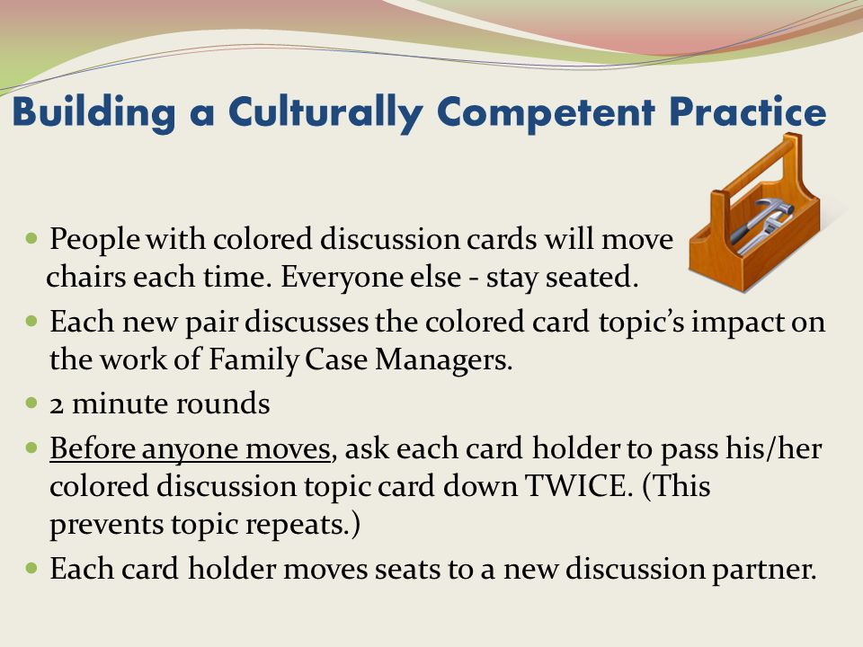 Building a Culturally Competent Practice People with colored discussion cards will move chairs each time.