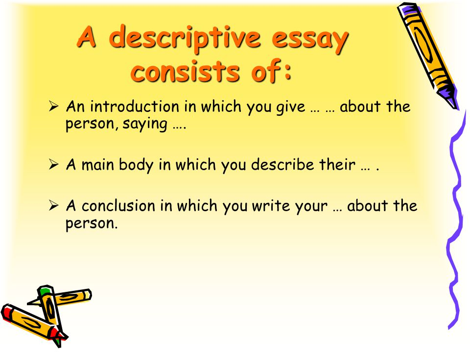 describing people people today we shall learn to speak what  a descriptive essay consists of  an introduction in which you give about