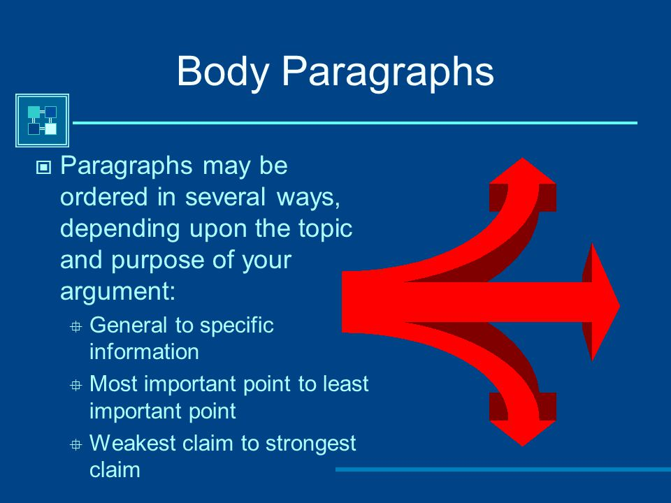 Body Paragraphs Paragraphs may be ordered in several ways, depending upon the topic and purpose of your argument:  General to specific information 