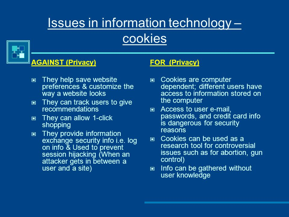 Issues in information technology – cookies AGAINST (Privacy) They help save website preferences & customize the way a website looks They can track users to give recommendations They can allow 1-click shopping They provide information exchange security info i.e.