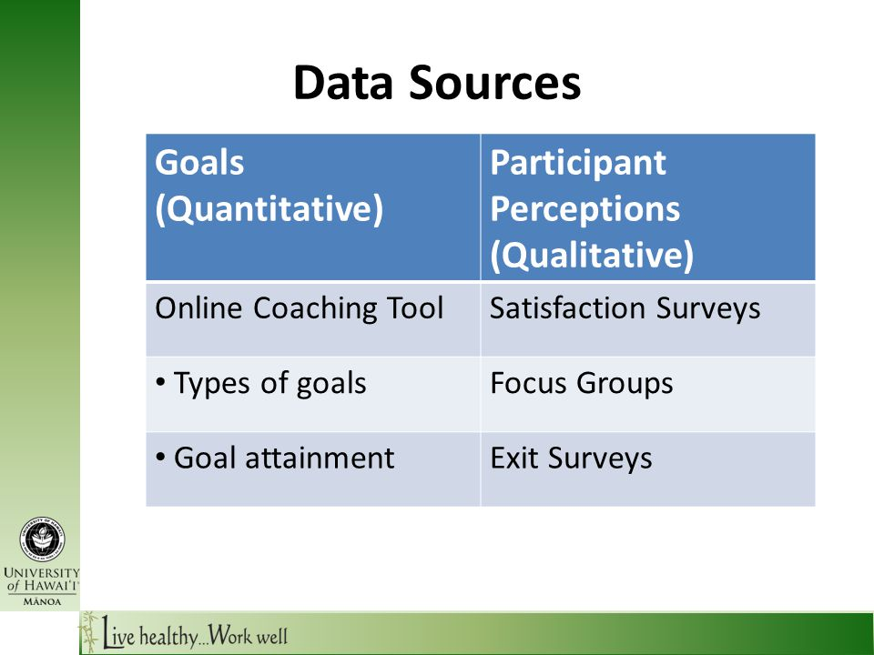 Data Sources Goals (Quantitative) Participant Perceptions (Qualitative) Online Coaching ToolSatisfaction Surveys Types of goalsFocus Groups Goal attainmentExit Surveys
