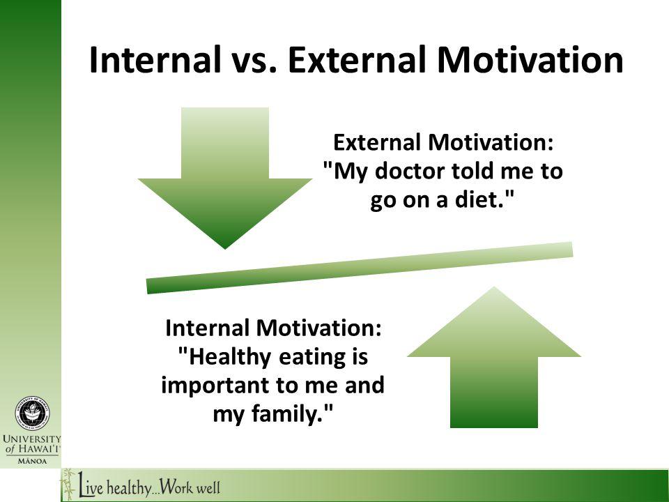 Internal vs. External Motivation Internal Motivation: