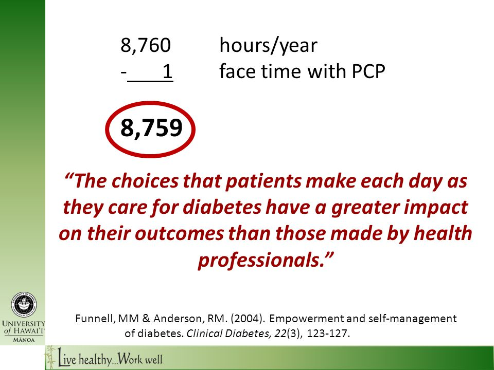 8,760hours/year - 1face time with PCP 8,759 The choices that patients make each day as they care for diabetes have a greater impact on their outcomes than those made by health professionals. Funnell, MM & Anderson, RM.