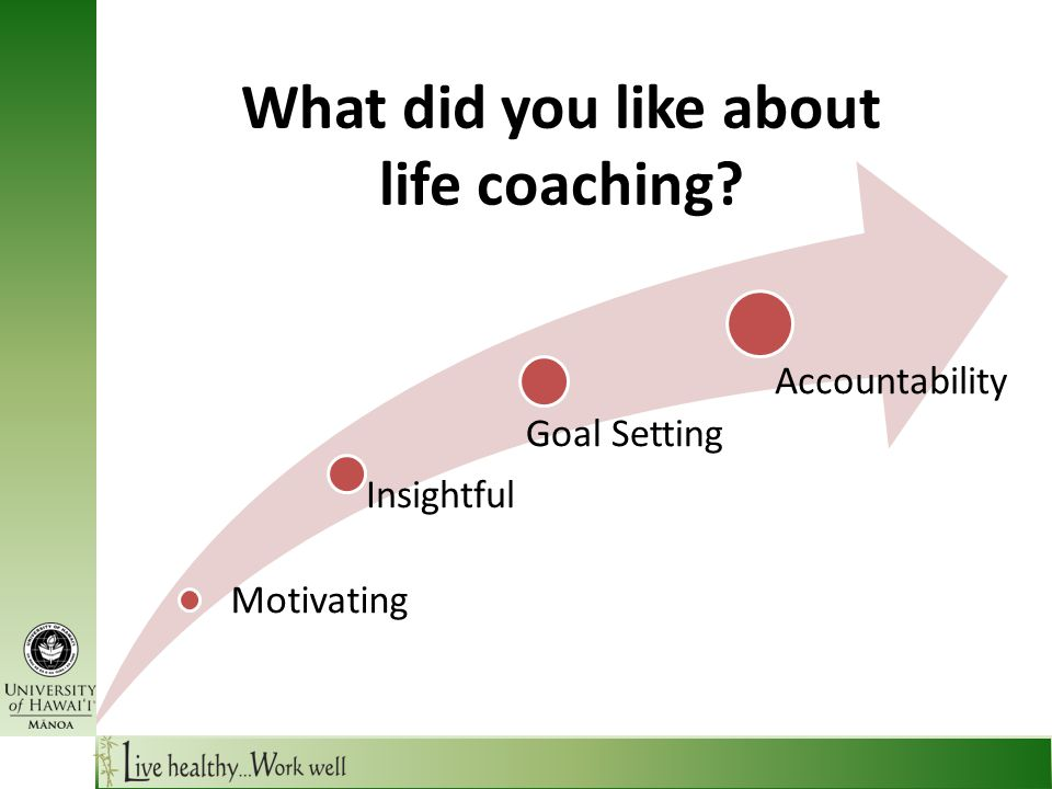 What did you like about life coaching Motivating Insightful Goal Setting Accountability