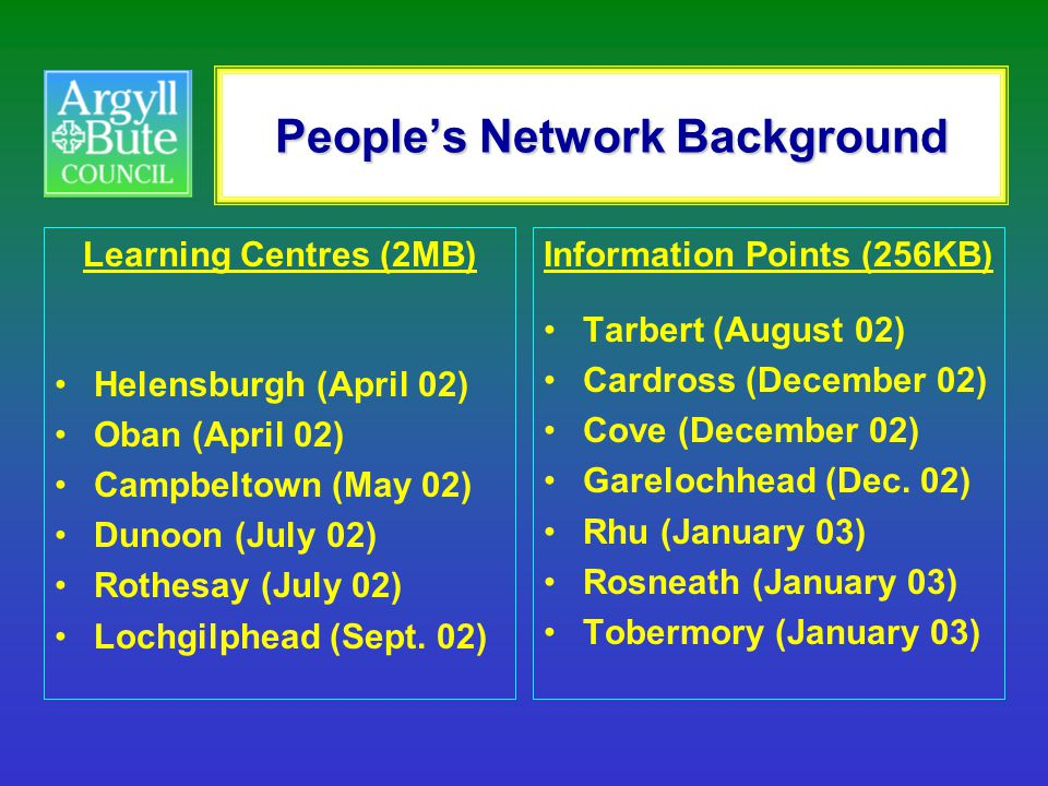 People's Network Background Learning Centres (2MB) Helensburgh (April 02) Oban (April 02) Campbeltown (May 02) Dunoon (July 02) Rothesay (July 02) Loc