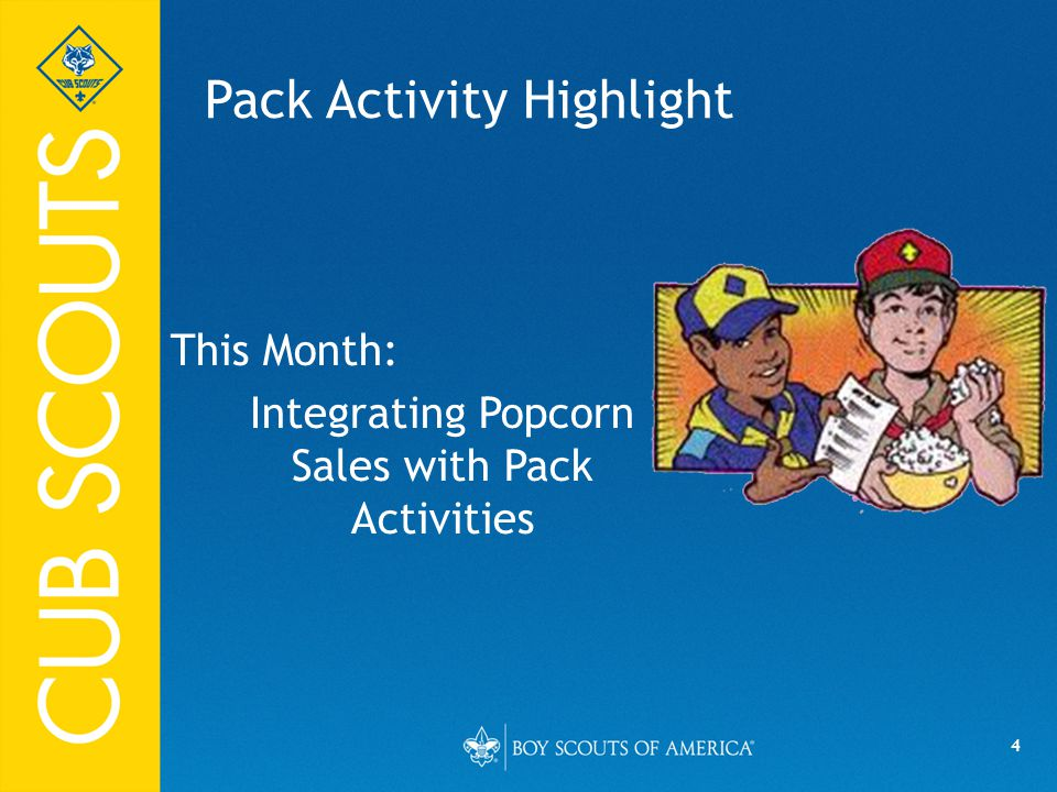 4 Pack Activity Highlight This Month: Integrating Popcorn Sales with Pack Activities