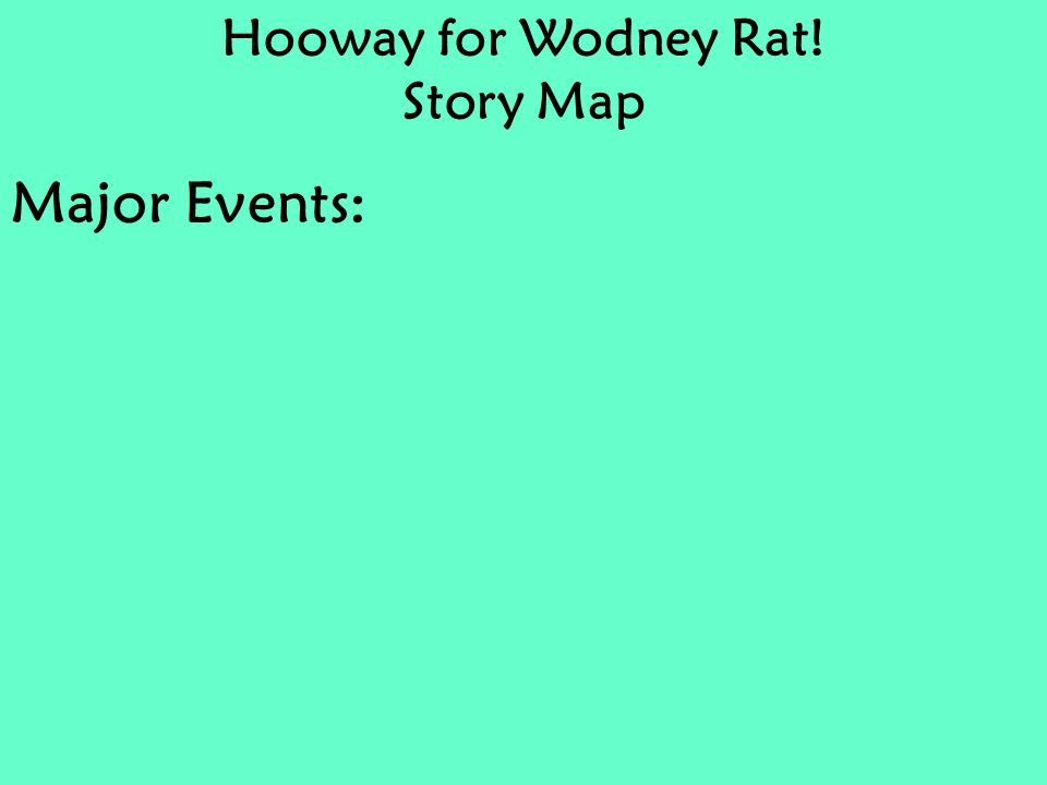 Hooway for Wodney Rat! Story Map Major Events: