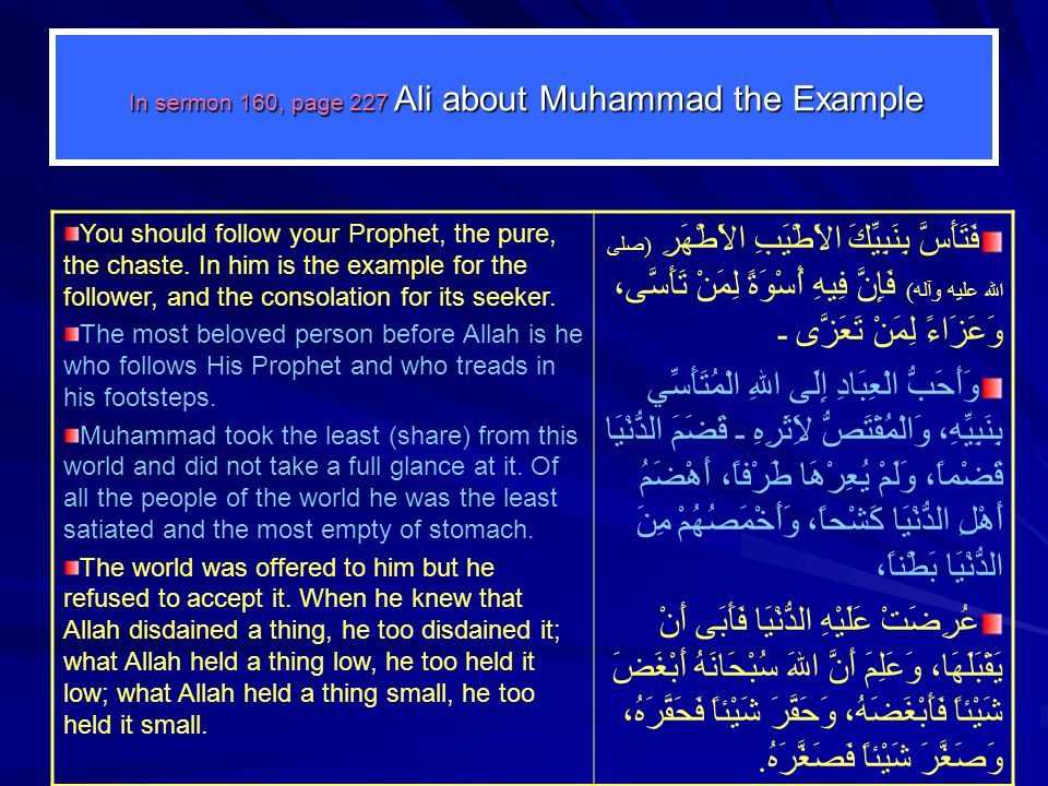 In sermon 160, page 227 Ali about Muhammad the Example You should follow your Prophet, the pure, the chaste. In him is the example for the follower, a