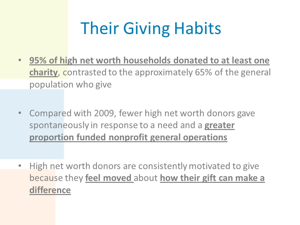 Their Giving Habits Majority of high net worth households reported having a great deal of confidence in the ability of nonprofits (90.8%) and individuals (89.%) to solve societal problems Average amount donated by high net worth households to charity overall in 2012 was $52,770 74% reported that feeling moved about how a gift can make a difference remained a top motivation Annually supporting the same causes and giving to an efficient organization held steady as motivations for high net worth donors
