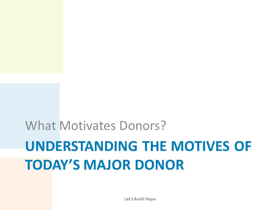 Reported Motivation for Charitable Giving Motivations Percentage of Respondents (donors chose 3) – Basic needs 43.0 – Poor help themselves 36.7 – Make community better 36.7 – Make world better 35.4 – For equity (responsibility to help those with less) 27.9 – Own decision about money 25.3 – Services govt.