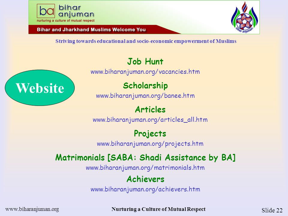 Striving towards educational and socio-economic empowerment of Muslims www.biharanjuman.orgNurturing a Culture of Mutual Respect Slide 23 Useful Links – more 150 links www.biharanjuman.org/links.htm Anjuman FAQ www.biharanjuman.org/FAQ.htm Yahoo!Group www.biharanjuman.org/yahoo.htm Anti-dowry www.biharanjuman.org/dowry.htm Higher Education www.biharanjuman.org/high_ed_ind.htm BA Chapters www.biharanjuman.org/chapters.htm Website