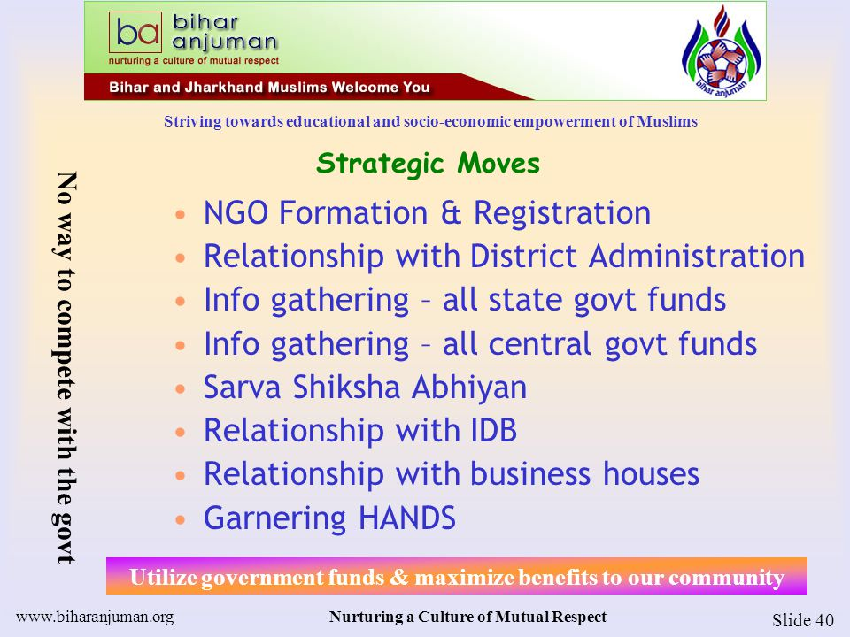 Striving towards educational and socio-economic empowerment of Muslims www.biharanjuman.orgNurturing a Culture of Mutual Respect Slide 41 HANDS – We need a lot of them H: Harness, Harvest [Hands, minds, hearts] A: Active N: Network of New [hands, energy, ideas] D: Decisive [Quick decisions, speedy communication] S: Soldiers [of peace, for Action] HANDS: Harness Active Network of Decisive Soldiers HANDS: Shall we have yours?
