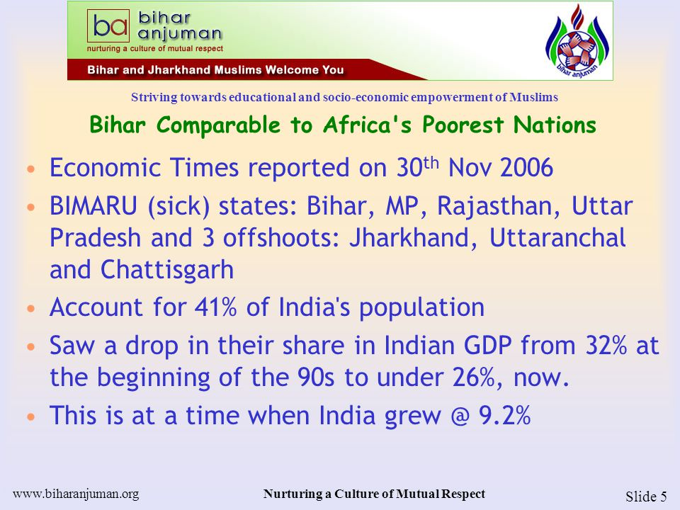 Striving towards educational and socio-economic empowerment of Muslims www.biharanjuman.orgNurturing a Culture of Mutual Respect Slide 5 Bihar Comparable to Africa s Poorest Nations Economic Times reported on 30 th Nov 2006 BIMARU (sick) states: Bihar, MP, Rajasthan, Uttar Pradesh and 3 offshoots: Jharkhand, Uttaranchal and Chattisgarh Account for 41% of India s population Saw a drop in their share in Indian GDP from 32% at the beginning of the 90s to under 26%, now.