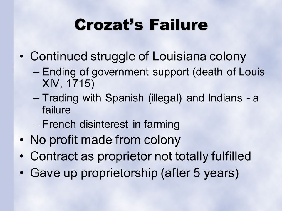 Crozat's Failure Continued struggle of Louisiana colony –Ending of government support (death of Louis XIV, 1715) –Trading with Spanish (illegal) and I