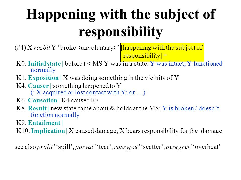(#4) X razbil Y 'broke ' [happening with the subject of responsibility] = K0.