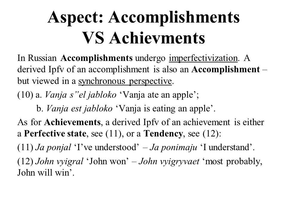 Aspect: Accomplishments VS Achievments In Russian Accomplishments undergo imperfectivization.