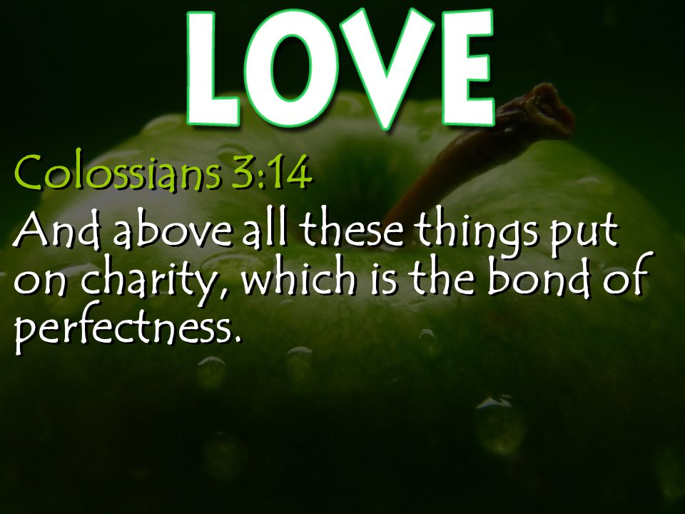 Colossians 3:14 And above all these things put on charity, which is the bond of perfectness.