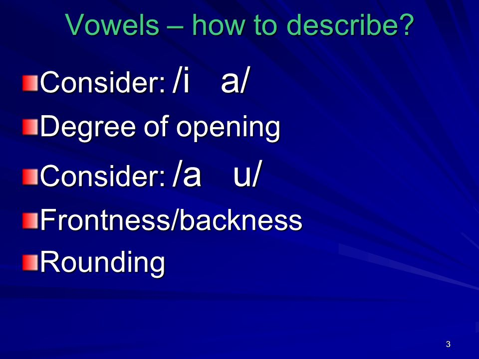 3 Vowels – how to describe.