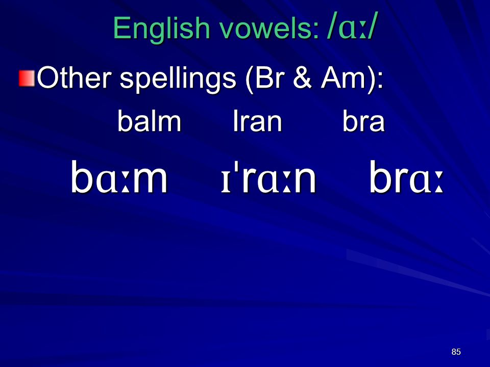 85 English vowels: / ɑː / Other spellings (Br & Am): balm Iran bra b ɑː m ɪˈ r ɑː n br ɑː b ɑː m ɪˈ r ɑː n br ɑː