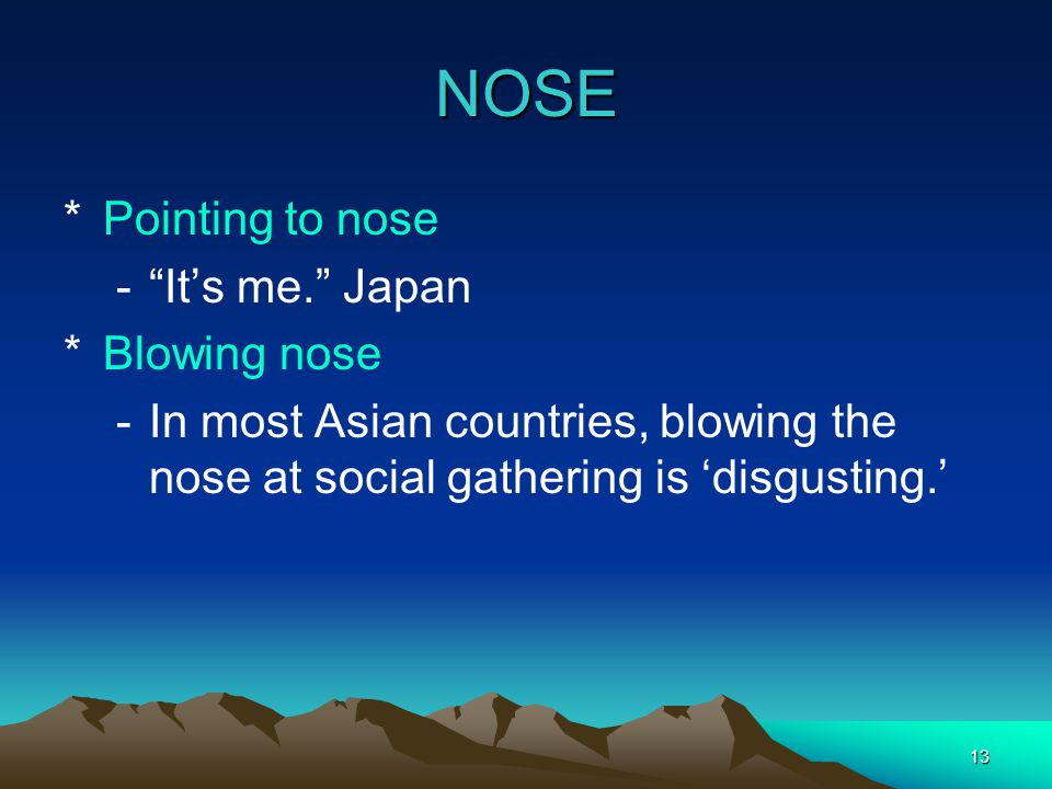 "13 NOSE *Pointing to nose -""It's me."" Japan *Blowing nose -In most Asian countries, blowing the nose at social gathering is 'disgusting.'"