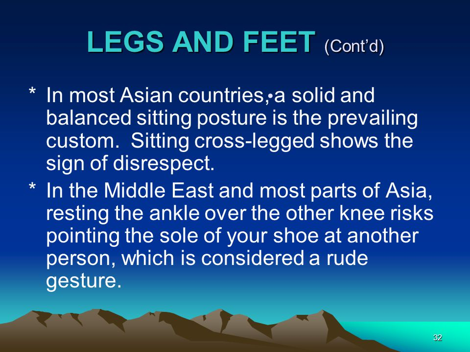 32 LEGS AND FEET (Cont'd) *In most Asian countries, a solid and balanced sitting posture is the prevailing custom.