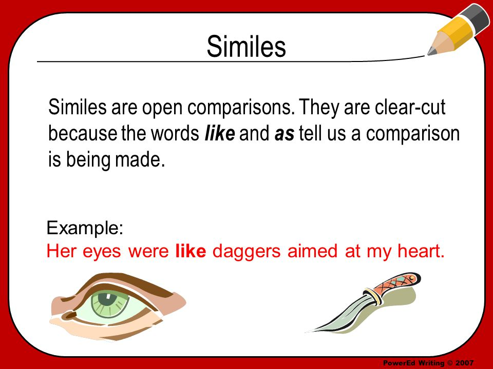 PowerEd Writing © 2007 Similes Similes are open comparisons.