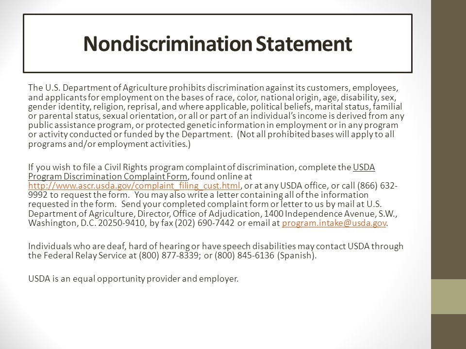 Nondiscrimination Statement The U.S.