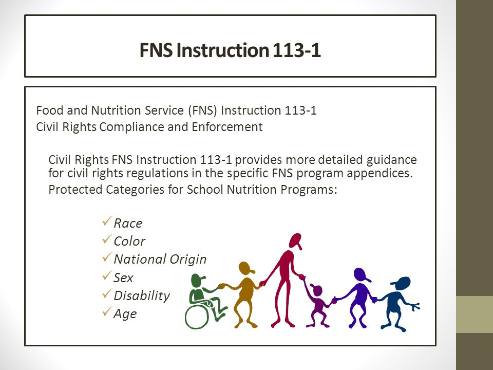 FNS Instruction 113-1 Food and Nutrition Service (FNS) Instruction 113-1 Civil Rights Compliance and Enforcement Civil Rights FNS Instruction 113-1 provides more detailed guidance for civil rights regulations in the specific FNS program appendices.