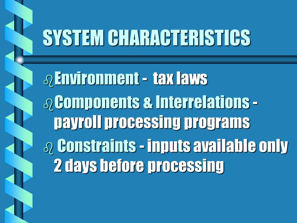 SYSTEM CHARACTERISTICS b Environment - tax laws b Components & Interrelations - payroll processing programs b Constraints - inputs available only 2 days before processing