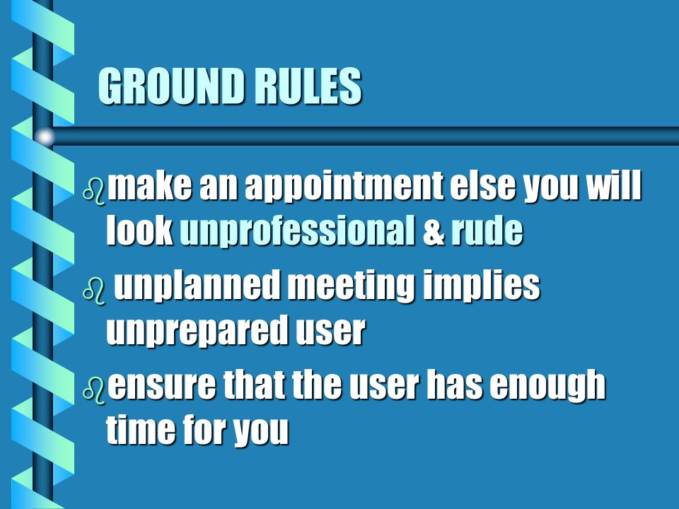 GROUND RULES b make an appointment else you will look unprofessional & rude b unplanned meeting implies unprepared user b ensure that the user has enough time for you
