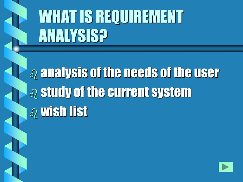 IMPORTANCE OF REQUIREMENT ANALYSIS b A builder builds a house only after studying the land and it's laws...