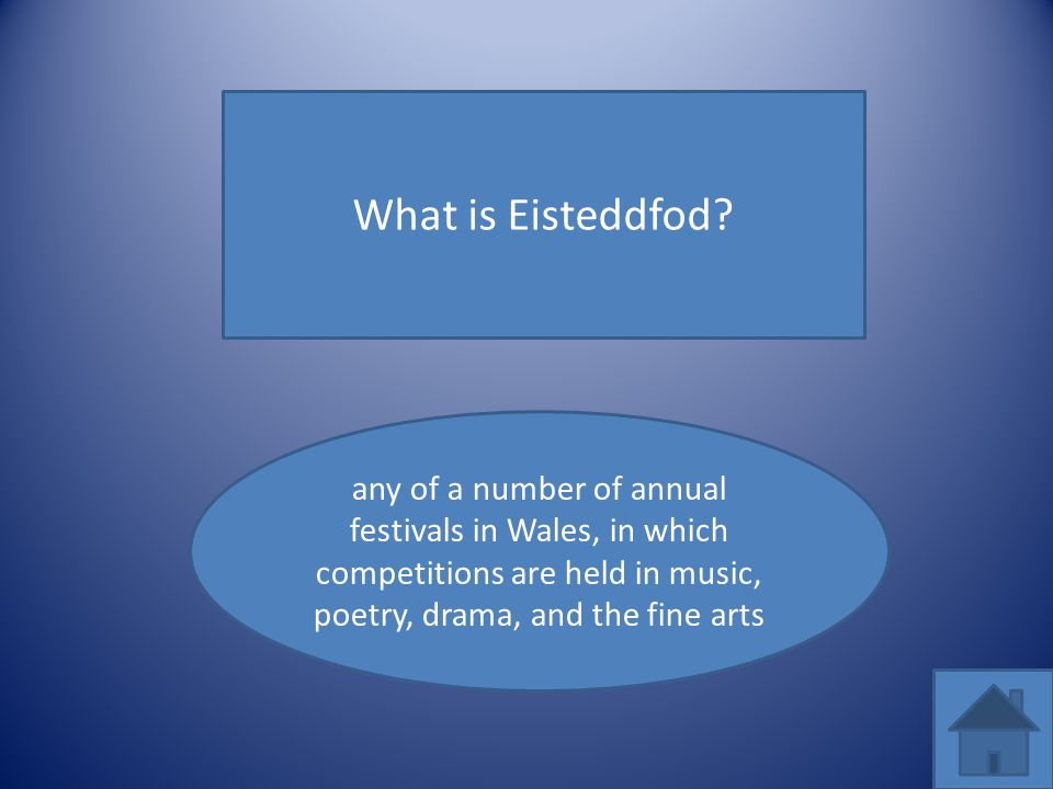 What is Eisteddfod? any of a number of annual festivals in Wales, in which competitions are held in music, poetry, drama, and the fine arts