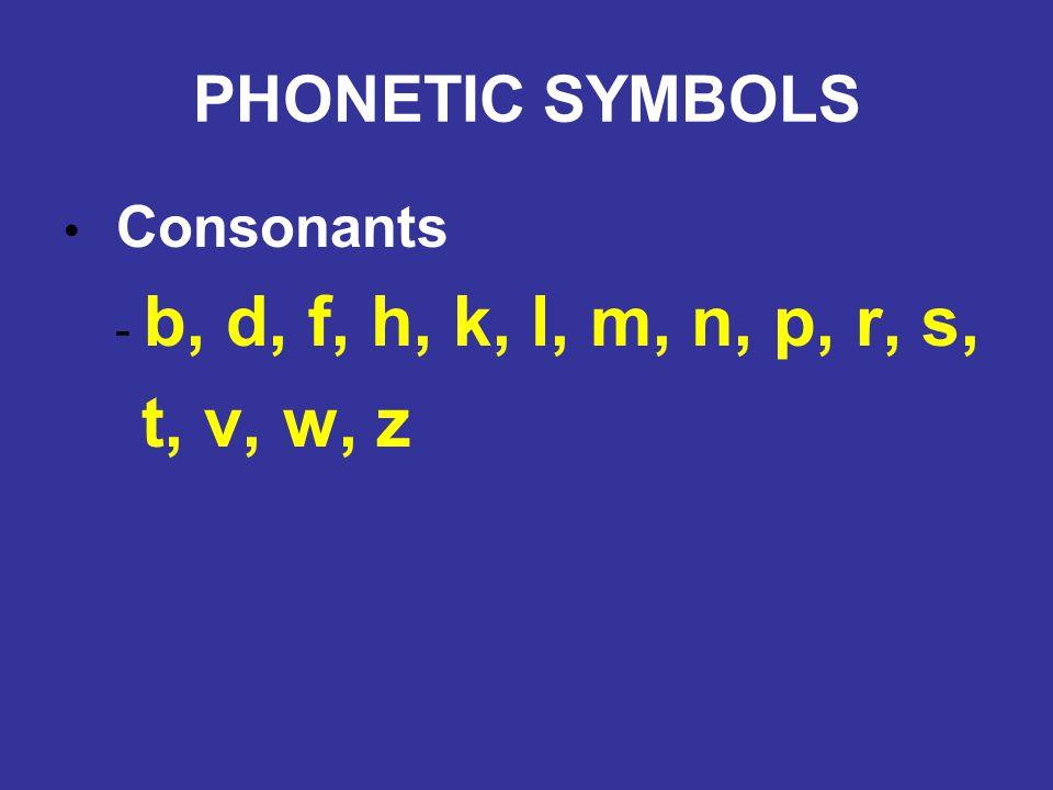 PHONETIC SYMBOLS Consonants - b, d, f, h, k, l, m, n, p, r, s, t, v, w, z