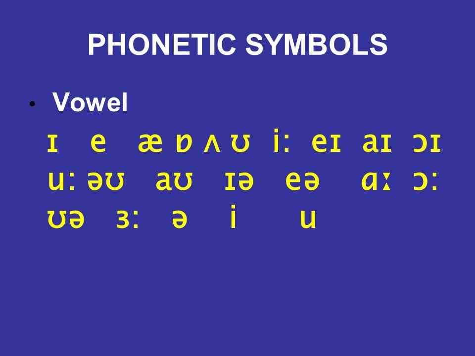 PHONETIC SYMBOLS Vowel ɪ e æ ɒ ʌ ʊ i: eɪ aɪ ɔɪ u: əʊ aʊ ɪə eə ɑː ɔ: ʊə ɜ: ə i u