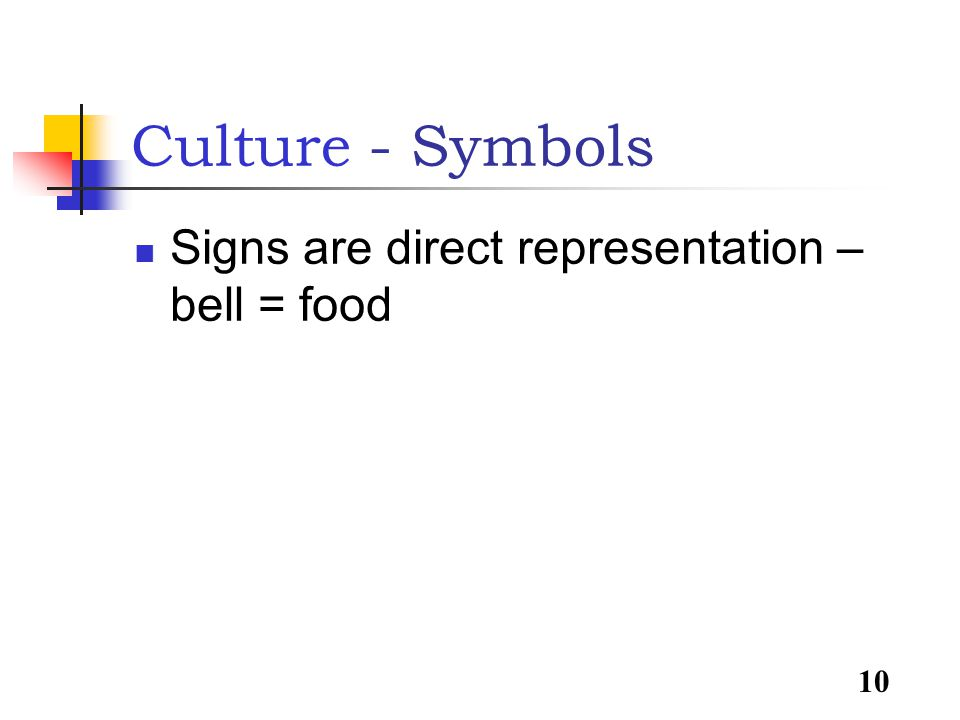 10 Signs are direct representation – bell = food Culture - Symbols