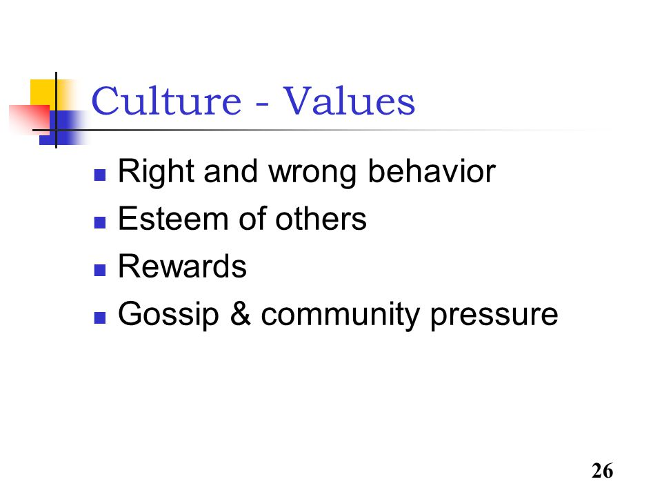 26 Culture - Values Right and wrong behavior Esteem of others Rewards Gossip & community pressure