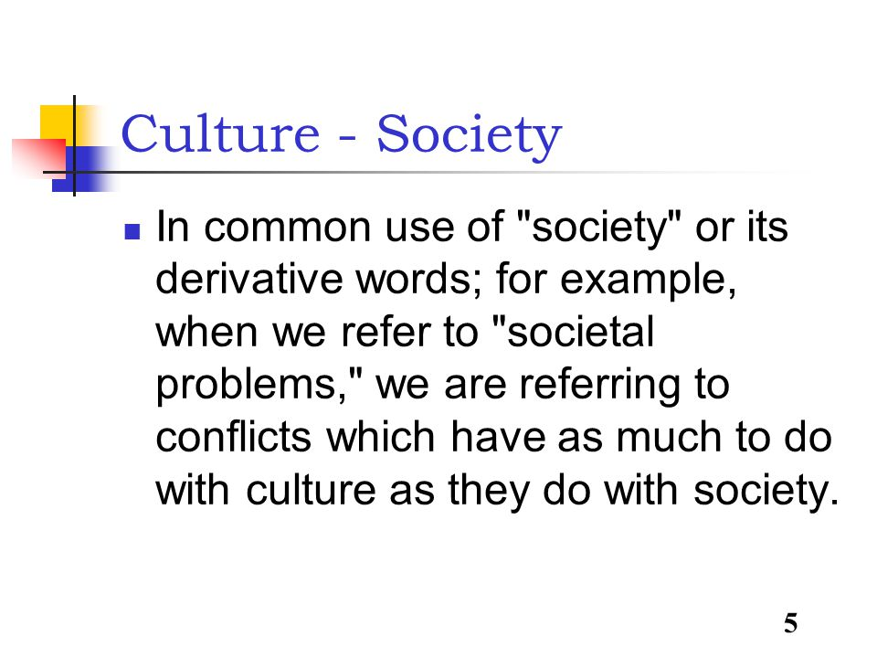 5 Culture - Society In common use of society or its derivative words; for example, when we refer to societal problems, we are referring to conflicts which have as much to do with culture as they do with society.