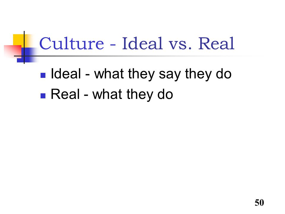 50 Culture - Ideal vs. Real Ideal - what they say they do Real - what they do