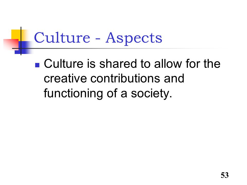 53 Culture - Aspects Culture is shared to allow for the creative contributions and functioning of a society.