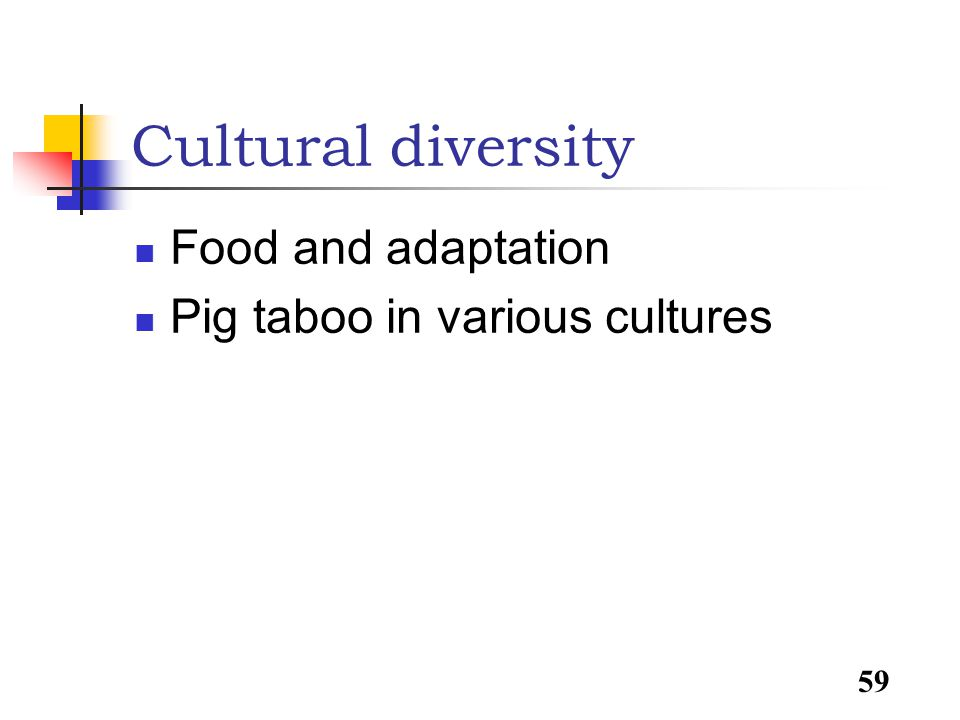 59 Cultural diversity Food and adaptation Pig taboo in various cultures