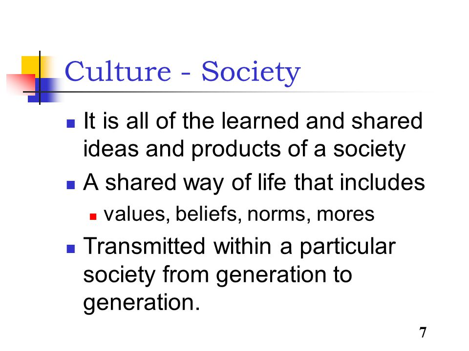 7 Culture - Society It is all of the learned and shared ideas and products of a society A shared way of life that includes values, beliefs, norms, mores Transmitted within a particular society from generation to generation.