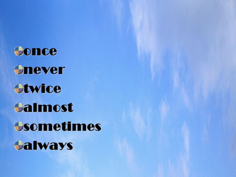oncenevertwicealmostsometimesalways