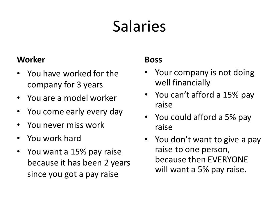 Salaries Worker You have worked for the company for 3 years You are a model worker You come early every day You never miss work You work hard You want a 15% pay raise because it has been 2 years since you got a pay raise Boss Your company is not doing well financially You can't afford a 15% pay raise You could afford a 5% pay raise You don't want to give a pay raise to one person, because then EVERYONE will want a 5% pay raise.
