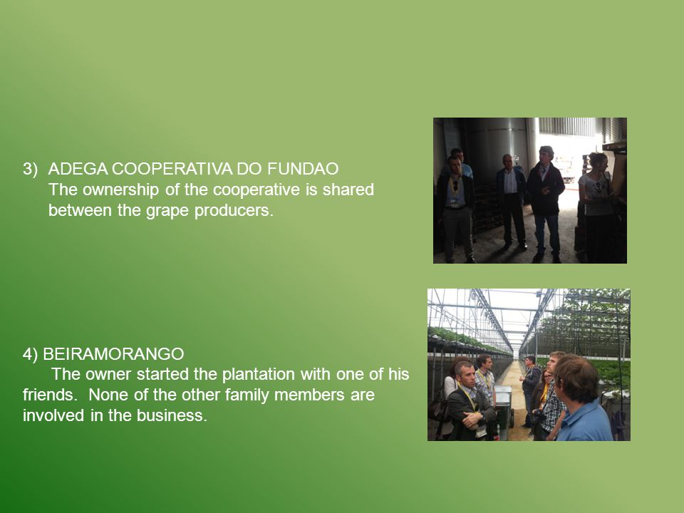 3)ADEGA COOPERATIVA DO FUNDAO The ownership of the cooperative is shared between the grape producers. 4) BEIRAMORANGO The owner started the plantation