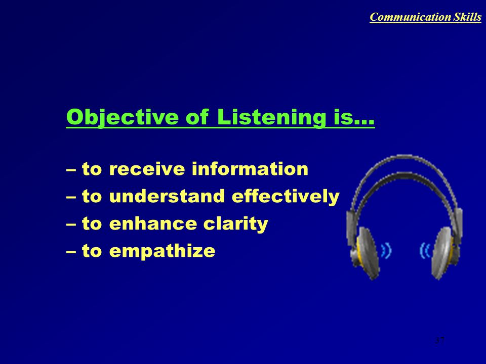 36 Listening – why is it important? Writing Reading Speaking Listening Order in which we are taught Order in which we learn 9% 16% 30% 45% Communicati