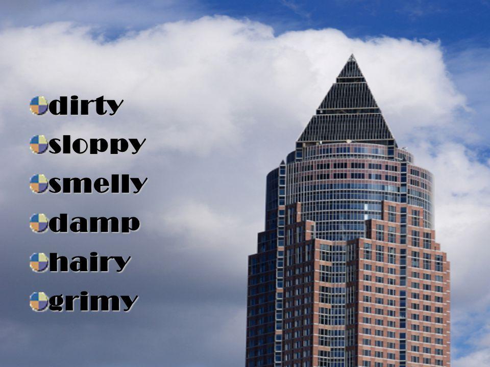 dirty sloppy smelly damp hairy grimy